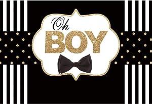 Haoyiyi 7x5ft Baby Shower Backdrop for Boy Background Black Bow Tie Gentleman Gold Glitter Dot Black and White Striped Photography Photo Newborn Infant Wedding Music Banquet Wallpaper Decor