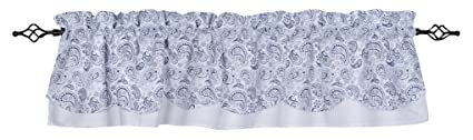 Home Collections by Raghu 72x15.5 Paisley White-Navy Fairfield Valance