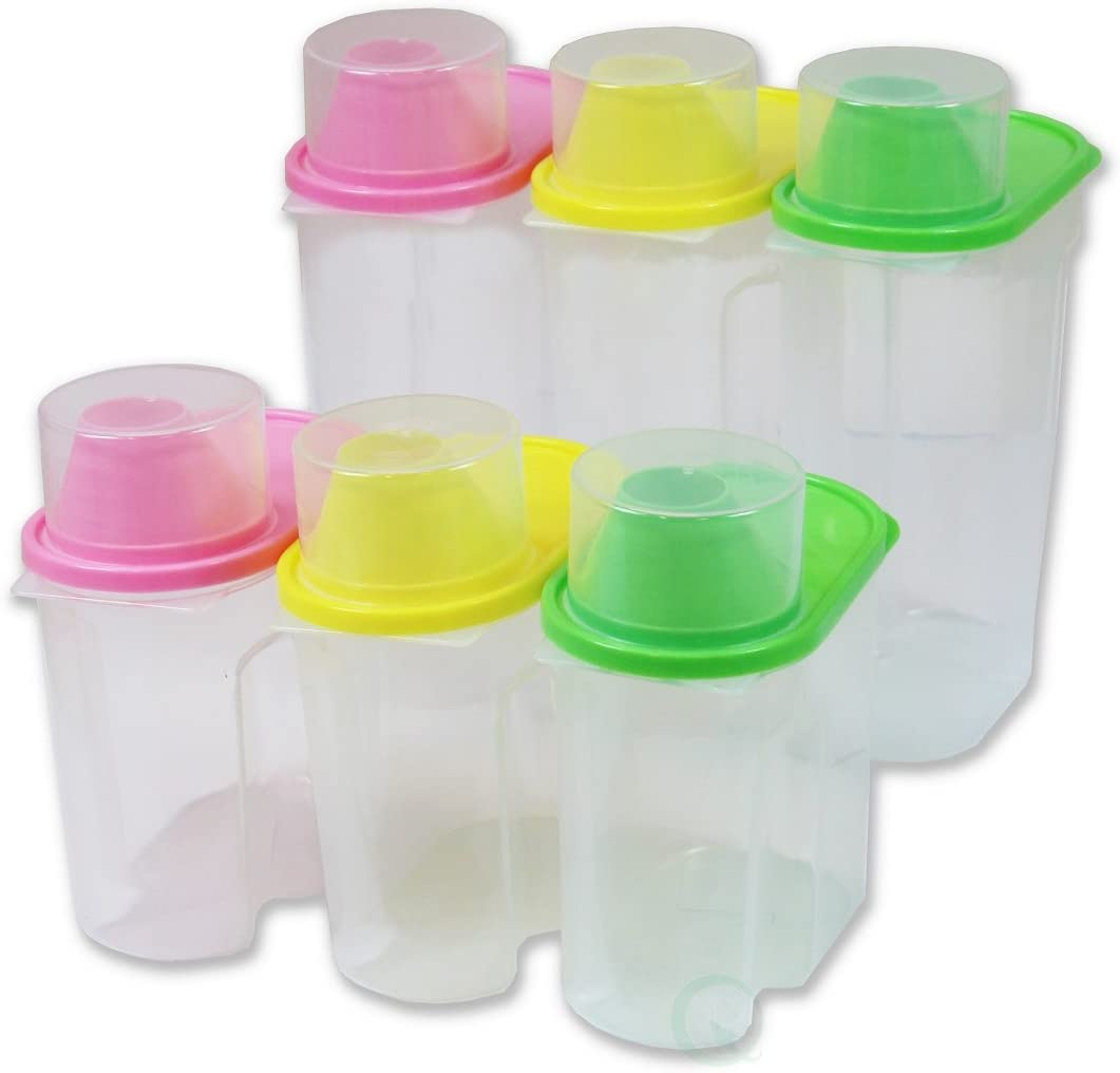 Basicwise BPA -Free Plastic Food Saver, Kitchen Food Cereal Storage Containers with Graduated Cap, Set of 3 Large & 3 Small, Large & Small, Pink, Green, and Yellow