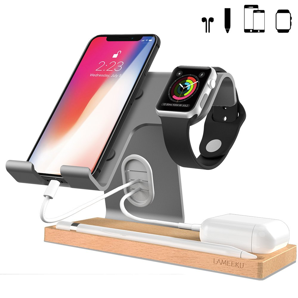 LAMEEKU Compatible Cell Phone Stand Replacement for Apple Watch Charging Stand, Cell Phone Wood Charging Stand Aluminum Phone Stand for All Smartphone, Airpods iPad Tablet - Gray