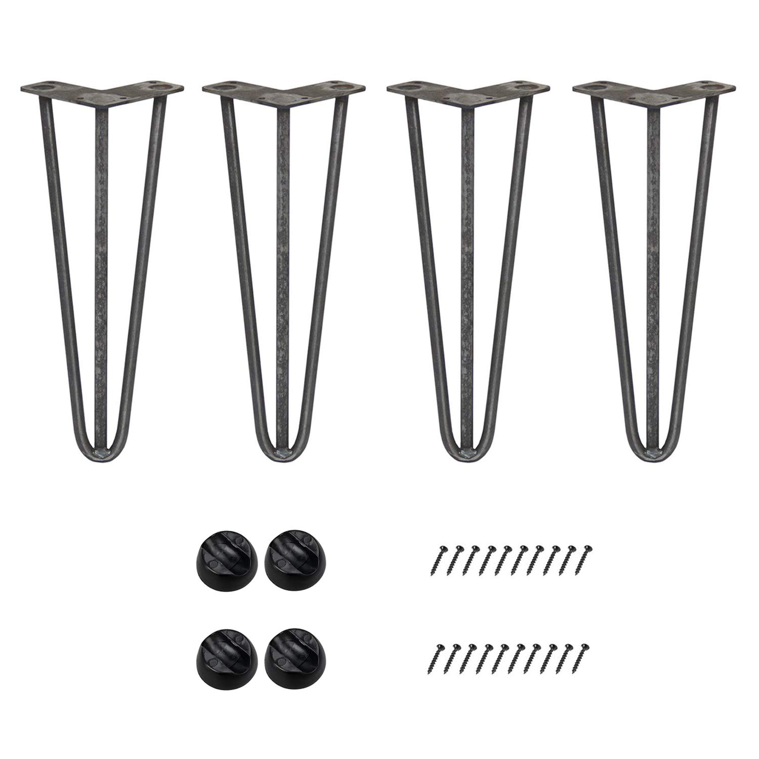 Raw 14 Inch Bronkey 4PCS Vintage Industrial Style Hairpin Legs, 4  Three Rods 3 8  Solid Bar Construction Design, Black Steel Metal Heavy Duty Table Leg, for DIY Living Room TV Stand Sofa Coffee Shop Decoration