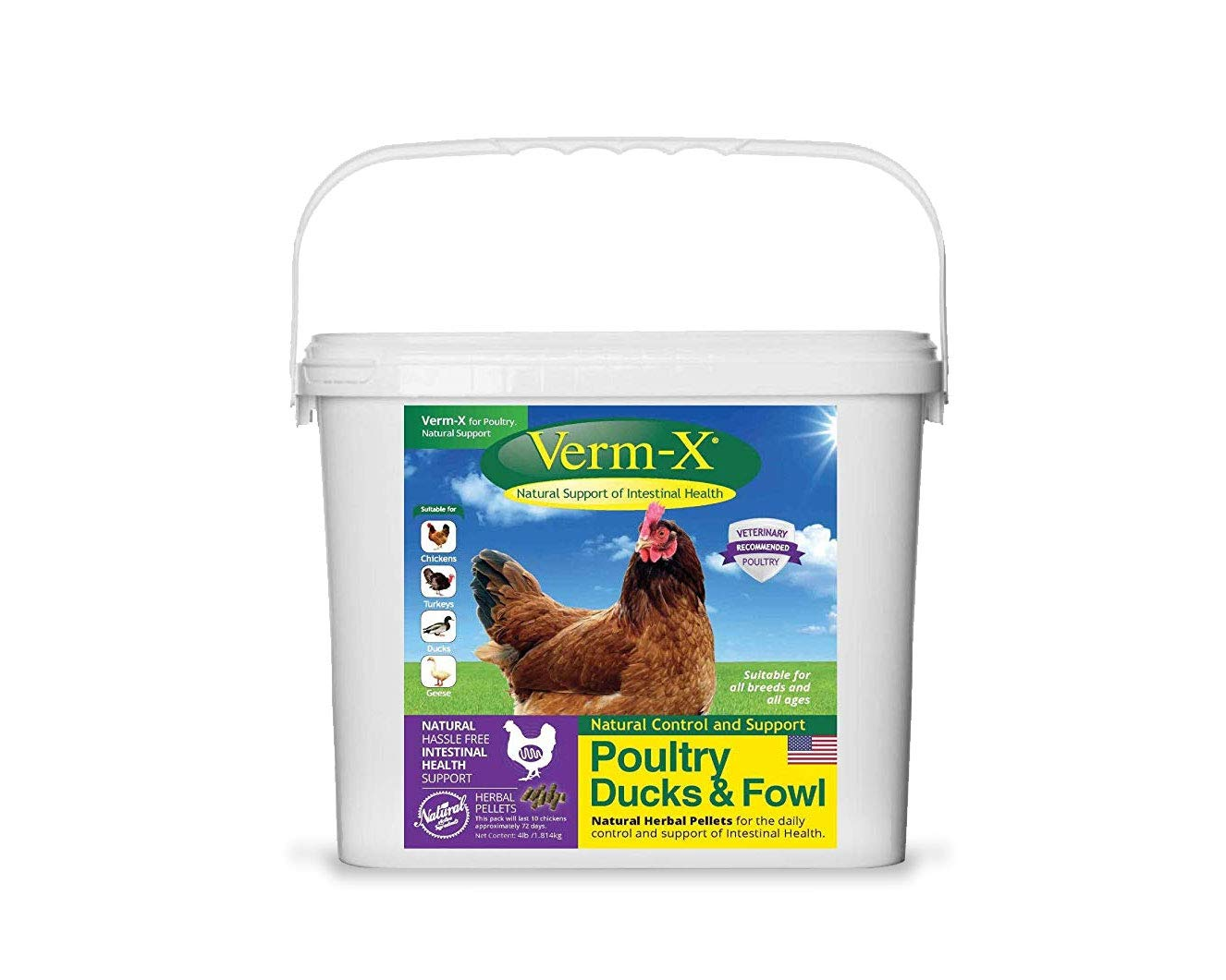 Verm-X Poultry Ducks & Fowl Natural Support Intestinal Health 4Lbs by Verm-X