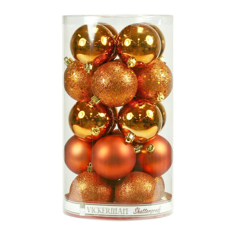 Vickerman Shatterproof Burn Orange 4 Finish Ornament Assortment, 60 per Box, 2.4'', Burnish Orange