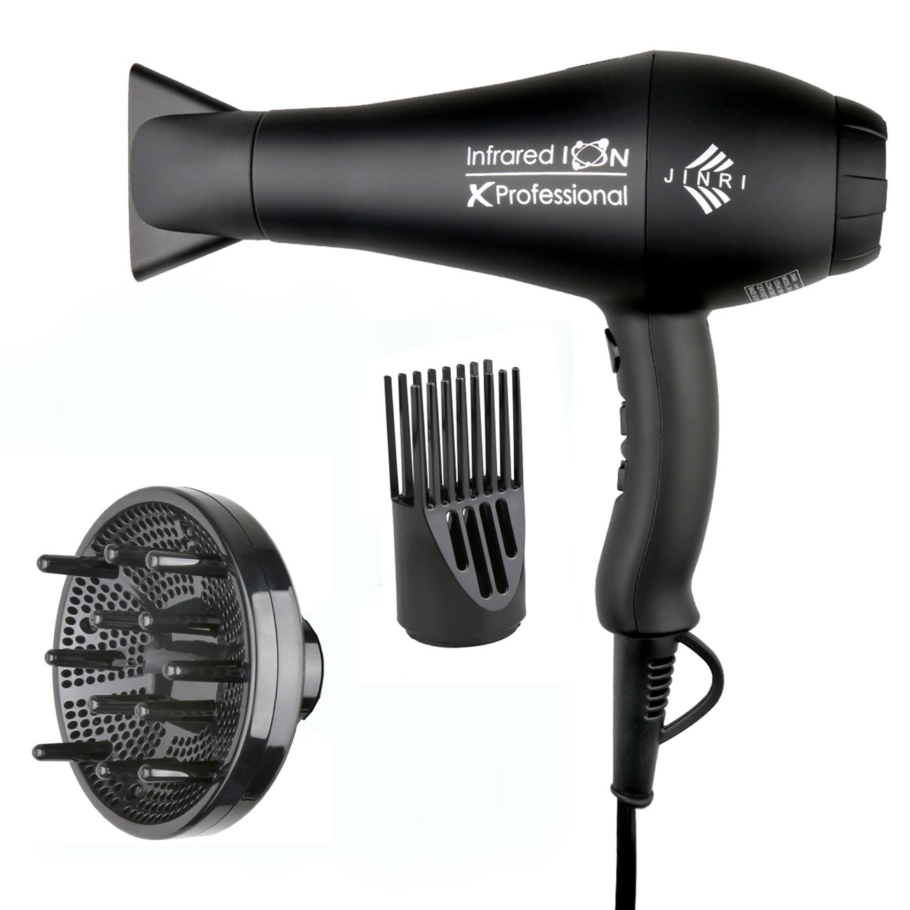 1875w Professional Salon Hair Dryer,Negative Ionic Hair Blow Dryer,AC Motor Infrared Heat Low Noise Hair Dryer,with Concentrator & Diffuser,ETL Certified, Blackr