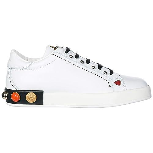 Dolce&Gabbana Zapatos Zapatillas de Deporte niña en Piel Blanco EU 32 D10656AH00689697