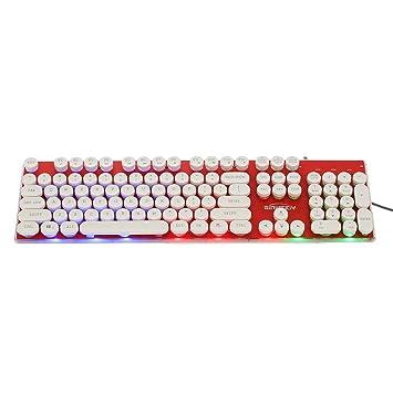 JUNERAIN Steampunk Retro Keycap Máquina de Escribir retroiluminada Mecánica Gaming Keyboard (Rojo): Amazon.es: Electrónica