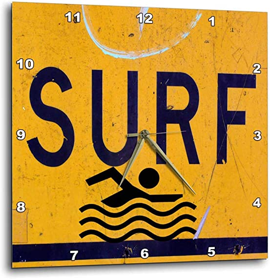 3dRose DPP_110965_1 Surf Sign to Remind You That The Water Awaits Your Board You Wall Clock, 10 by 10