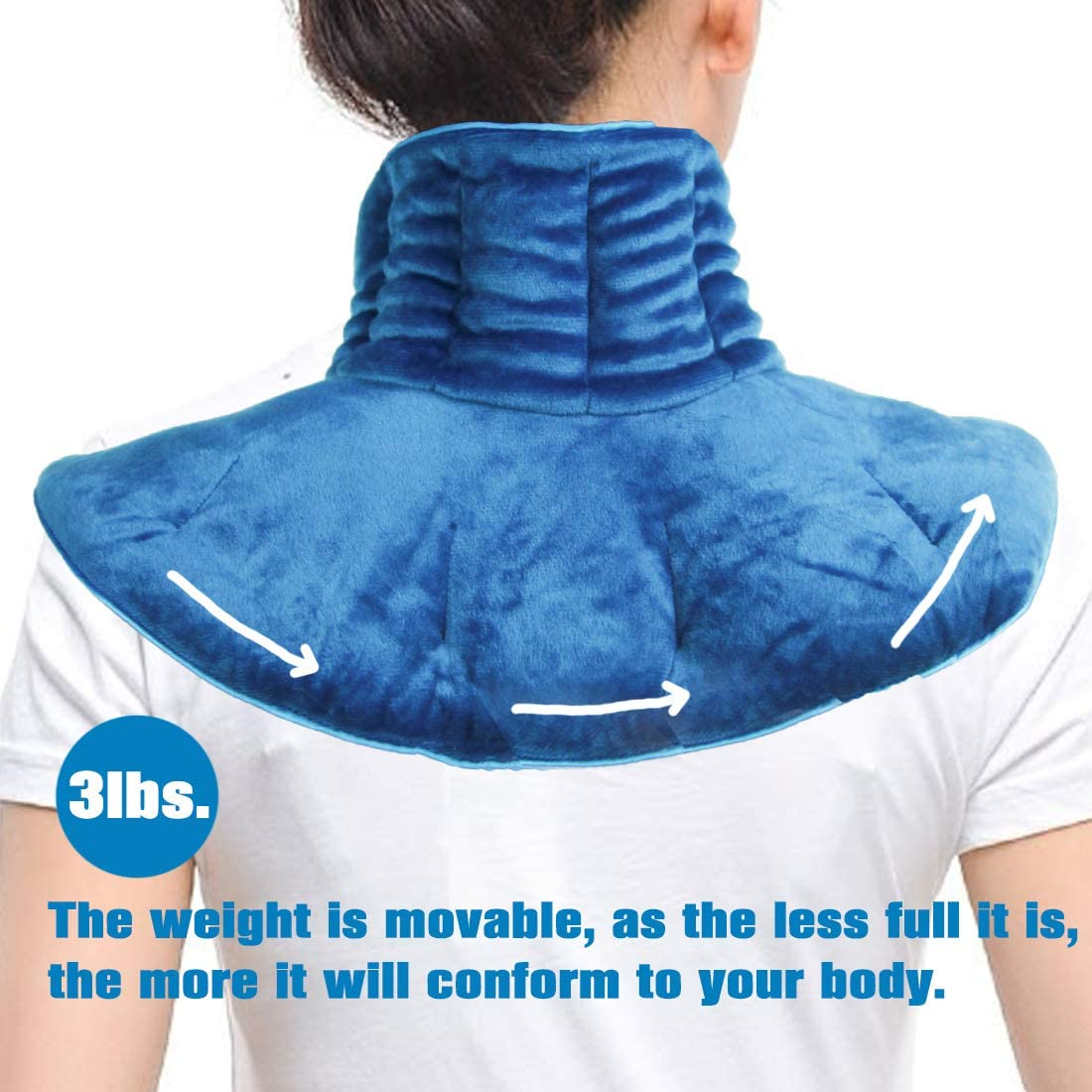 Microwavable Neck Wrap 3lbs Weighted Heating Pad for Neck and Shoulders, Hot & Cold Therapy Soothes Muscle and Arthritis Pain, Stress Relief: Health & Personal Care