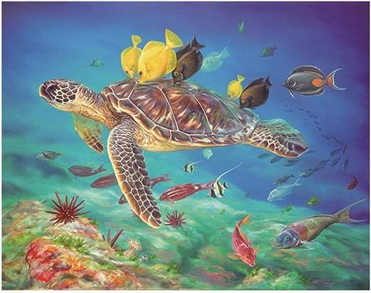 Arte Bordado 30x40CM 5D patrón de tortugas marinas Diamante Dibujo Pintura De Diamante
