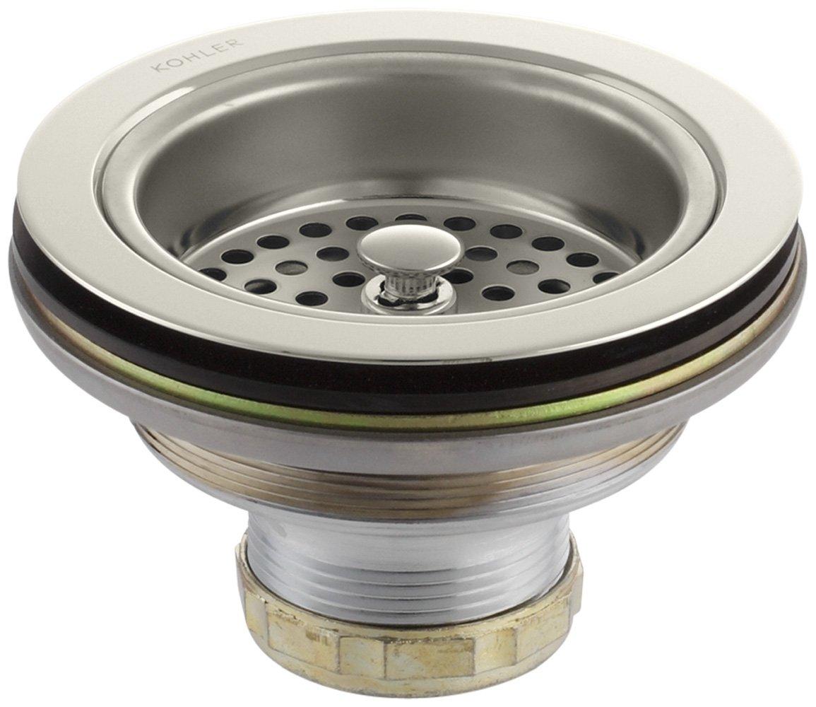 Kohler K-8799-SN Manual Sink Strainer, Vibrant Polished Nickel