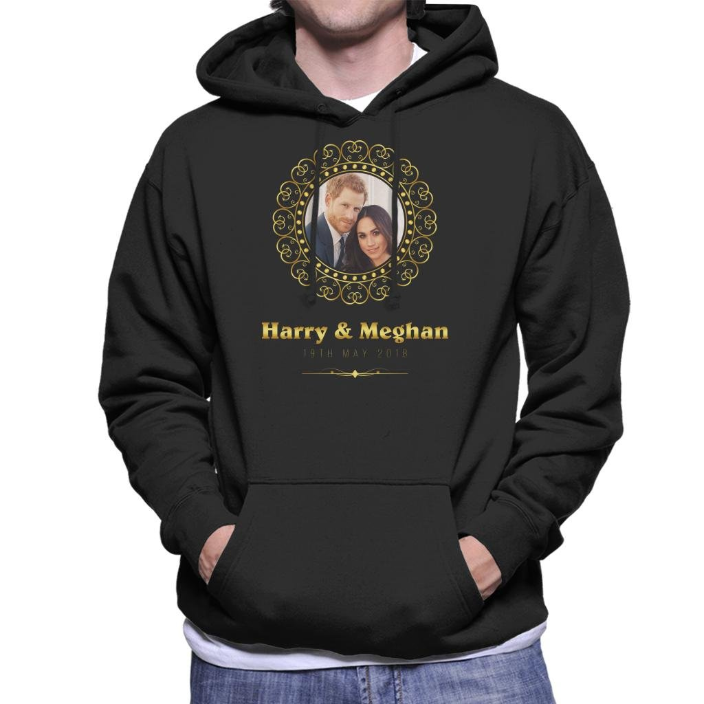 Coto7 Golden Frame Harry and Meghan Royal Wedding Men's Hooded Sweatshirt