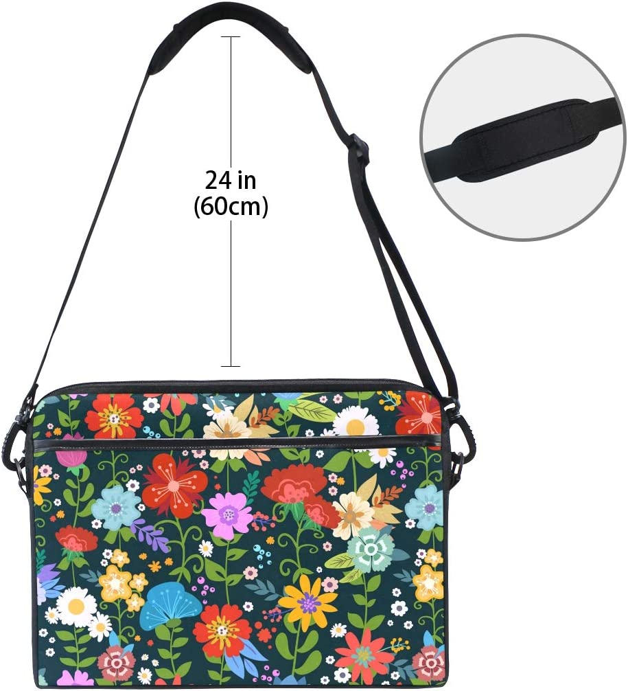HELVOON Spring Colorful Floral Pattern Laptop Shoulder Messenger Bag Computer Briefcase Business Notebook Sleeve Cover Carrying Handle Bag for 14 inch to 15.6 inch