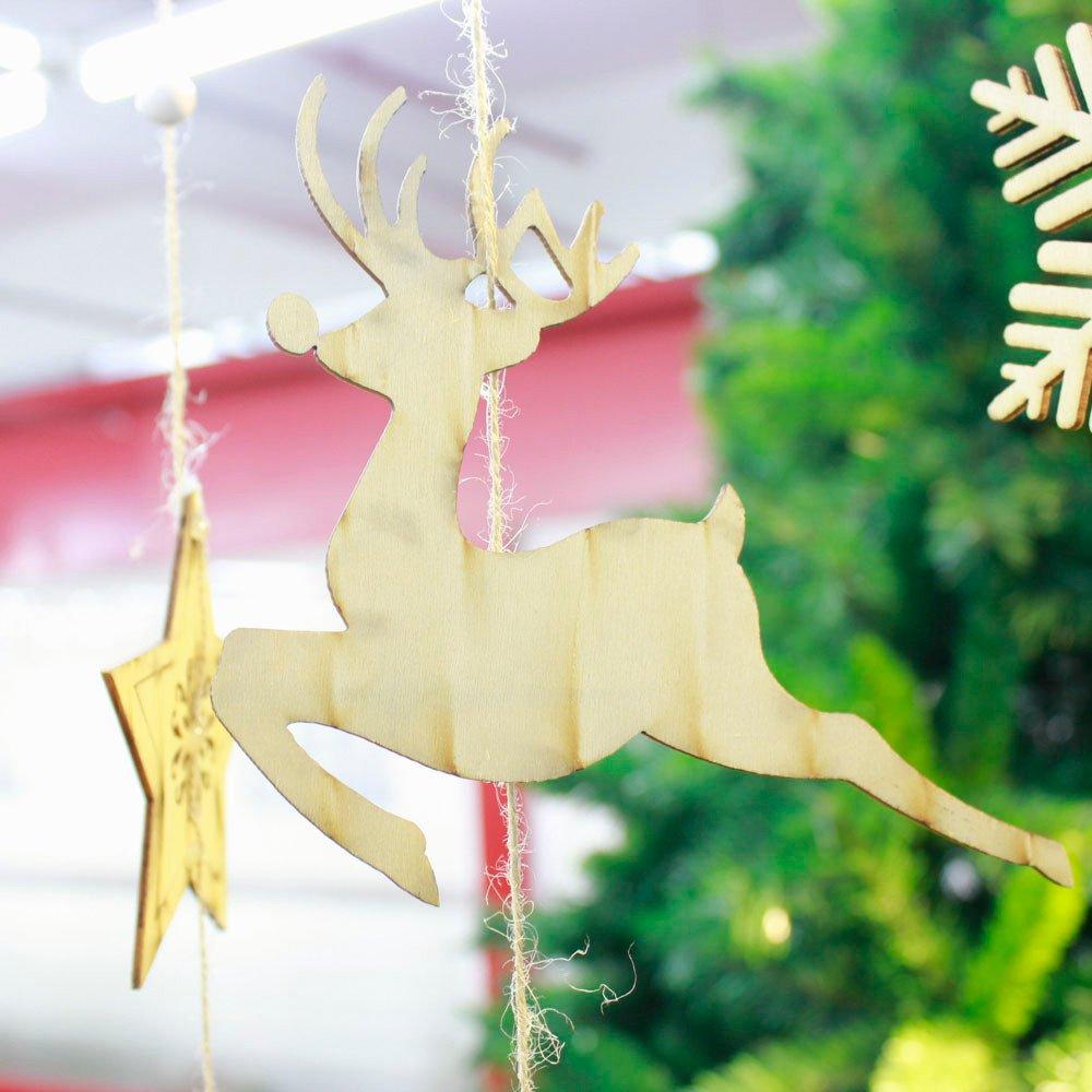 Zolimxmen 5Pcs Christmas Wooden Hanging Pendant, Best Xmas Tree Hanging Decor Christmas Decorations Seasonal Holiday Decor Decoration Sets for Trees Xmas Gifts