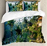 Balinese Decor Duvet Cover Set by Ambesonne, Terrace Rice Fields Palm Trees Traditional Farmhouse Morning Sunrise View Bali Indonesia, 3 Piece Bedding Set with Pillow Shams, Queen / Full, Green