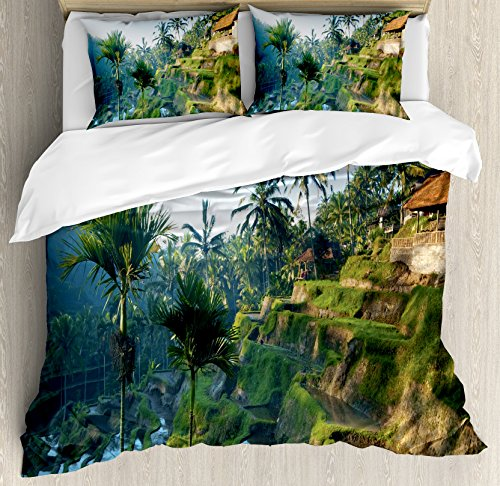 Balinese Decor Duvet Cover Set by Ambesonne, Terrace Rice Fields Palm Trees Traditional Farmhouse Morning Sunrise View Bali Indonesia, 3 Piece Bedding Set with Pillow Shams, Queen / Full, - Indonesia View