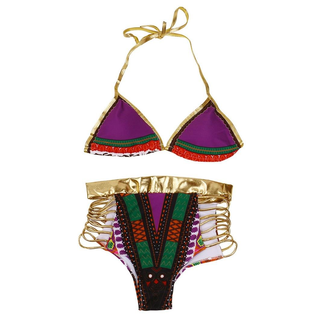 Cinnamou Mode String Bikini Strips Soutien-gorge Maillots de bain Beachwear Femme Bikini (Bleu, XL)