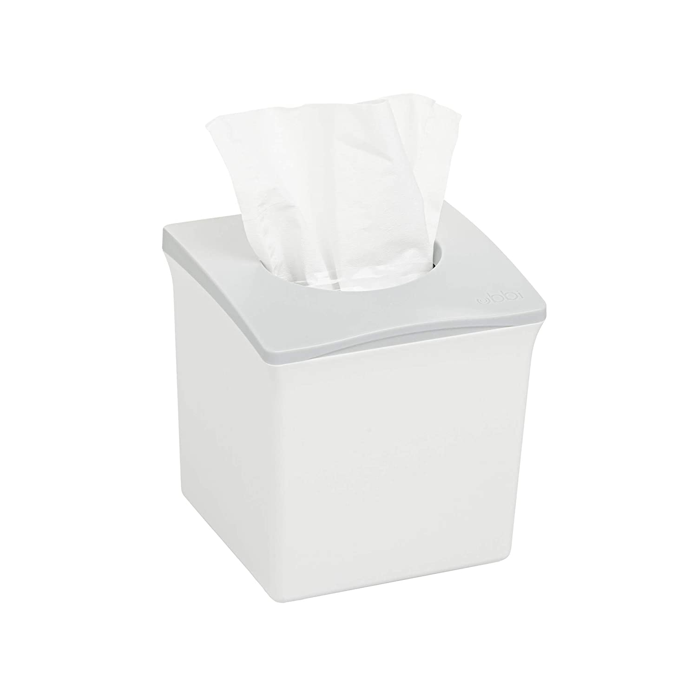 Ubbi Square Tissue Box Cover Holder, Cube Facial Tissue Dispenser for Bathroom Vanity Countertop, Bedroom or Office, White