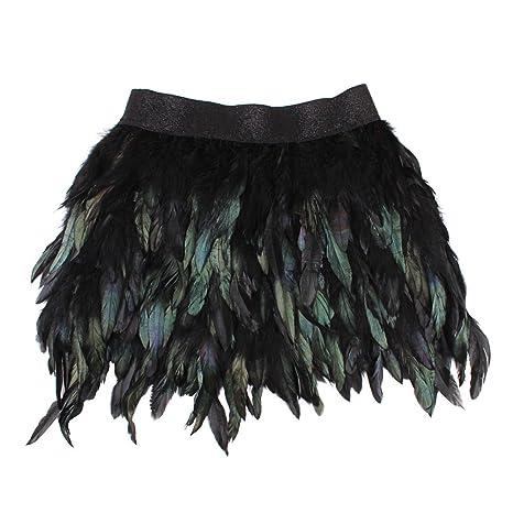 materiales superiores tan baratas calidad superior Sunbeter Mini Falda Mujer Pluma Negra con Cintura elástica Falda