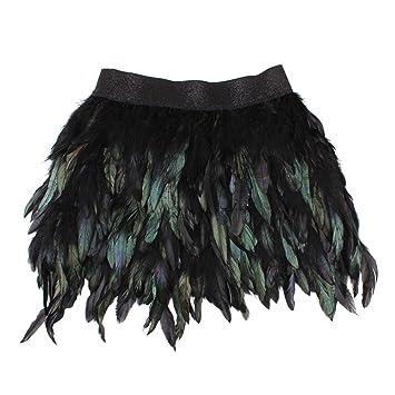 Sunbeter Mini Falda Mujer Pluma Negra con Cintura elástica Falda: Amazon.es: Hogar