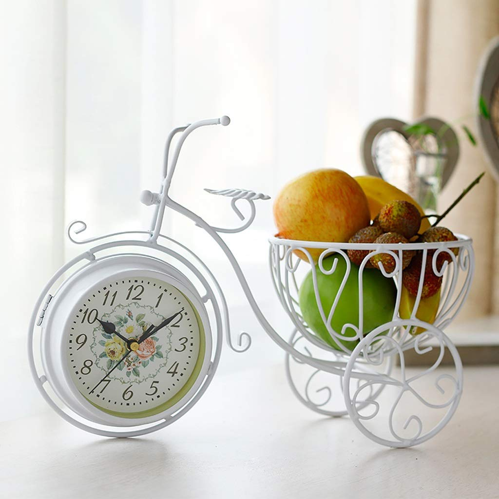 CXQ Creative Home Mute Seat Clock Ornaments Personality Double-Sided Table Clock Living Room Desktop Decoration (Color : White) by CXQ (Image #2)