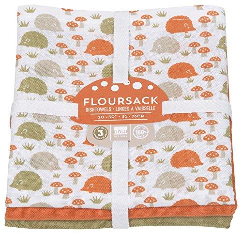 - Now Designs Floursack Dishtowel Set of Three: Happy Hedgehog Print, Green and Orange