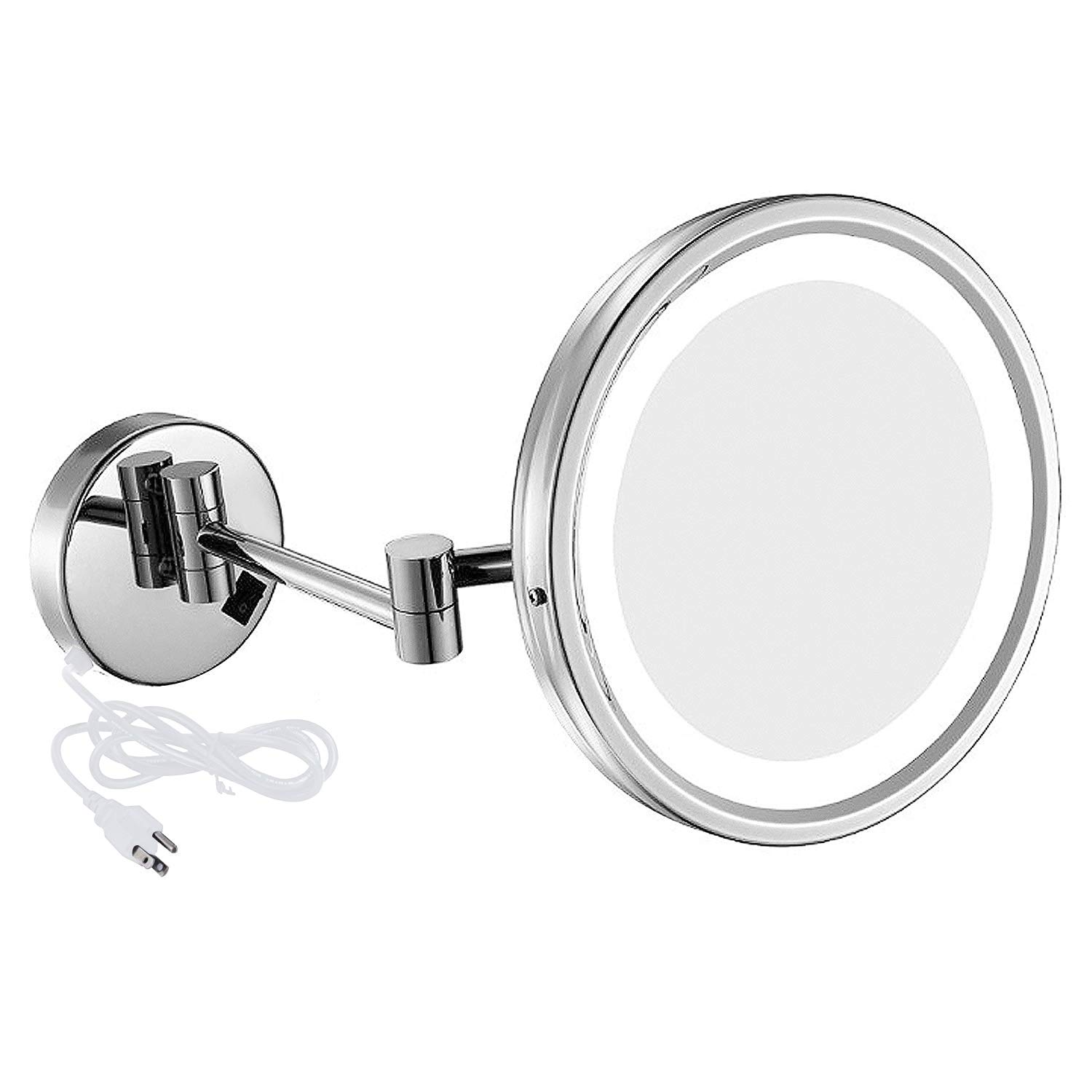 NiceVue LED Lighted Wall Mount Mirror 8.5-Inch with 7X Magnification, Swivel Mountable Makeup Mirror with Plug Chrome Finish 8.5in,7x