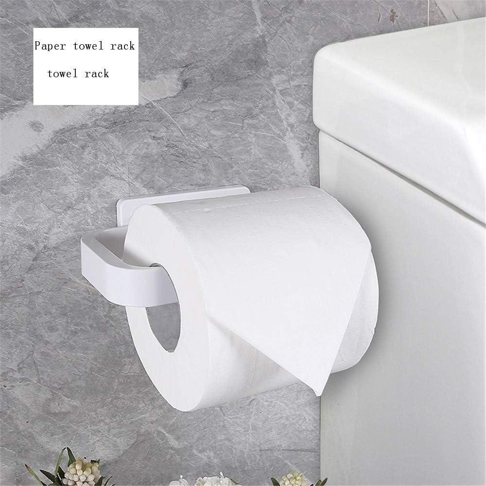 ENXING Porta rotolo Carta Igienica Porta carta igienica porta rotolo autoadesivo in ABS Portabiancheria da cucina per bagno in porcellana mensola 15x8x5cm bianca