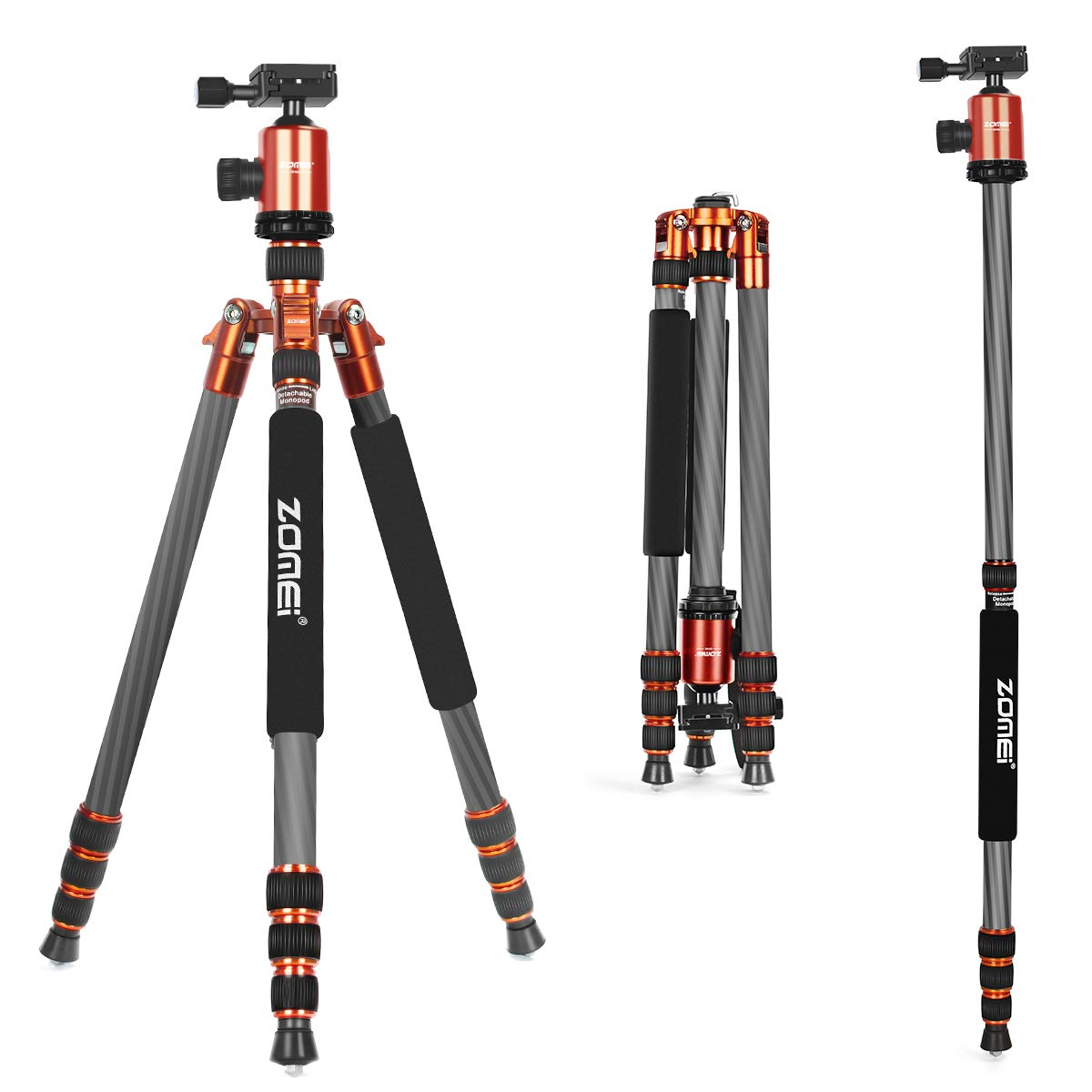 ZoMei Carbon Fiber Tripod,Camera Tripod for dslr,66.5'' Camera Tripod Monopod with 360 Degree Ball Head,Load up to 33 pounds (orange) by ZoMei