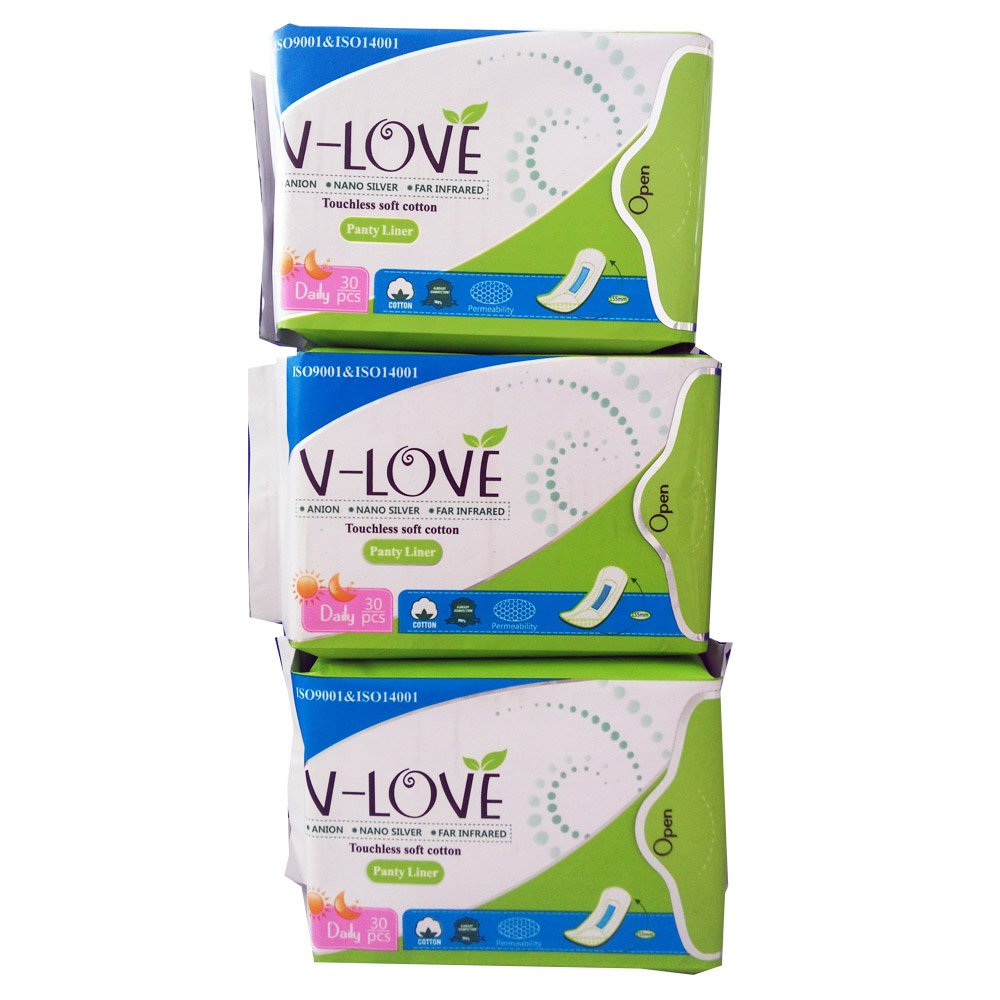 VLOVE all Natural Wingless Cotton Pantiliners Wrapped with Patented Negative ion Strip, Herbal Scented-90Count (Pack of 3)