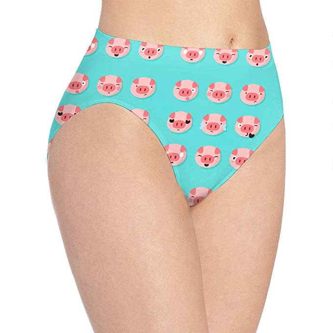 0a00a07ee37 Amazon.com  Cute Pig Face Funny Emoji Pig Face Ms. Print Cute Funny  Underwear Panties Sexy Female Gift  Clothing