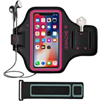"""iPhone X/XS Armband, JEMACHE Water Resistant Gym Running Workout/Exercise Sport Arm Band Case for iPhone X/XS (5.8"""") with Card Holder (Rosy)"""