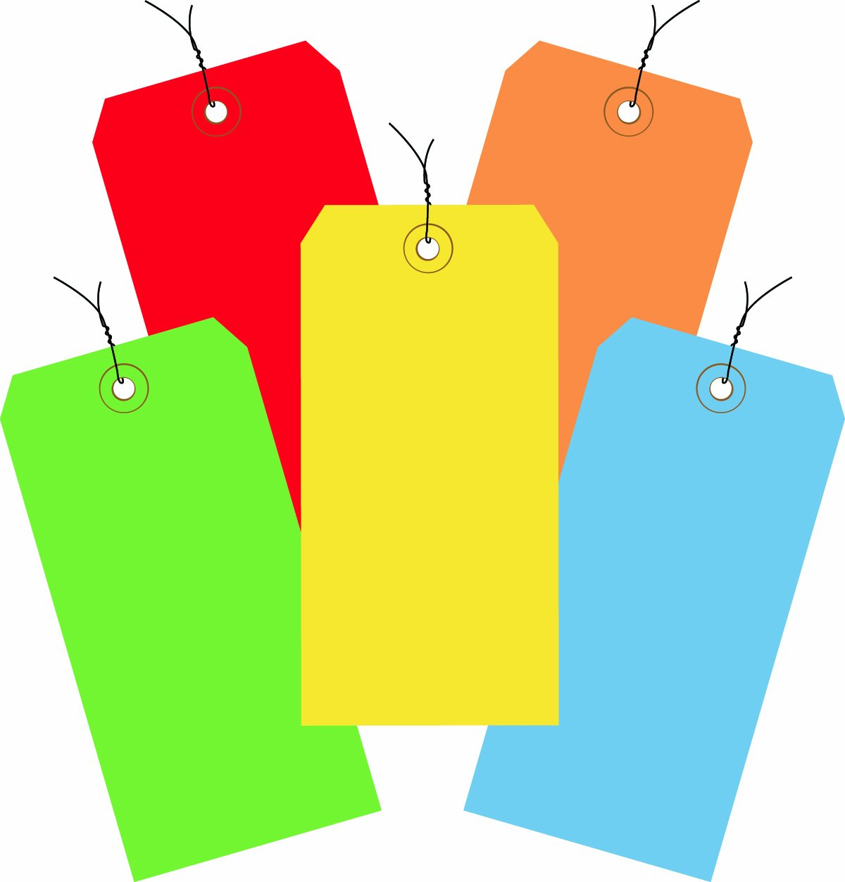 Aviditi G20003 Assorted Color 13 Point Shipping Tags Pre-Wired, 4 3/4'' x 2 3/8'' (Pack of 1000)