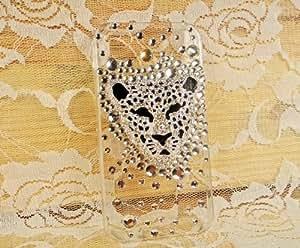 SMT Swarovski Crystal Bling Case for Iphone 4/4 Leopard Head (silver)