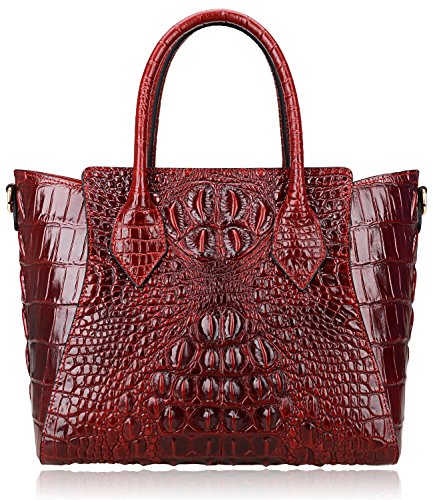 - PIJUSHI Embossed Crocodile Handbags for Ladies Designer Purses Top Handle Shoulder Bag (6082 Red)