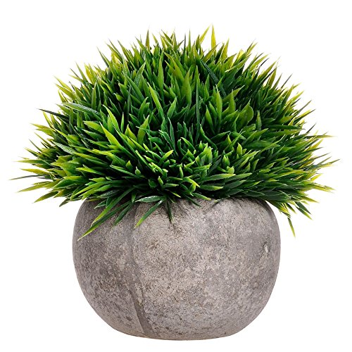 Supla 1 Pcs Mini Artificial Boxwood Topiary Grass Ball shaped Potted Plant with Pot Top Plant in Planter Mini Fake Green Topiary Plastic Artificial Plants faux Grass Ball in Weathered Pot (Green)