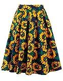 Alaroo Women's Floral Sunflower Skater Ruffle Black A Line Midi Skirt