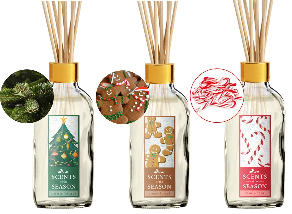 Christmas Fragrance Diffuser Set - Variety 3-Pack Scented Reed Diffusers   Home Fragrance   14 Reed Diffuser Sticks and 4 oz Bottle   Hand Made in The USA
