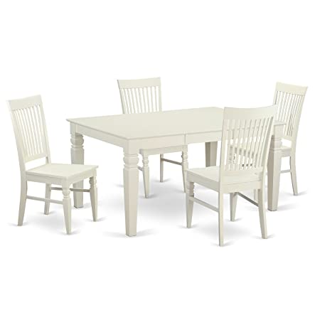 East West Furniture WEST5-WHI-W 5-Piece Dining Table Set