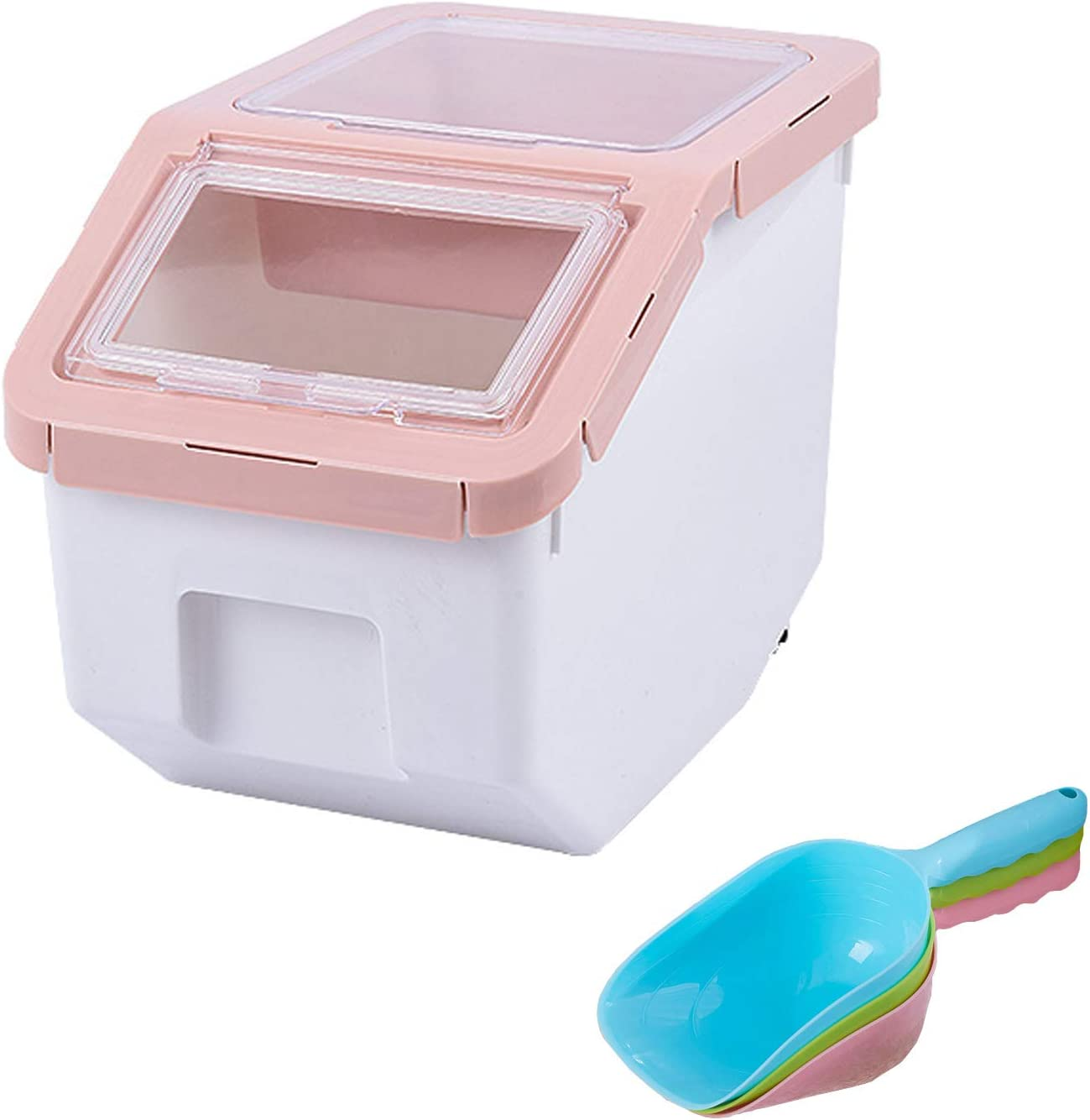 PENCKRice Container Storage Pet Dog Cat Food Bin Airtight Plastic Food Dispenser Holder Cereal Grain Organizer Box with Locking Lid, Measuring Cup, Scoop & Wheels,5-6kg Capacity, Pink, Small