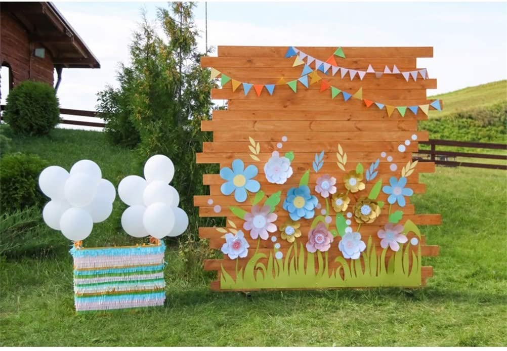10x6.5ft Outdoor Birthday Party Photo Booth Polyester Photography Background Wooden Board Handmade Paper Flowers Buntings White Balloon Bunches Grassland Backdrop Birthday Party Banner Studio