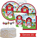 Farm Birthday Party Supplies - Farm Party Plates, Cups, Napkins and Birthday Candles for 16 People - Perfect Barnyard Farm Animal Birthday Decorations and Farm Party Supplies!