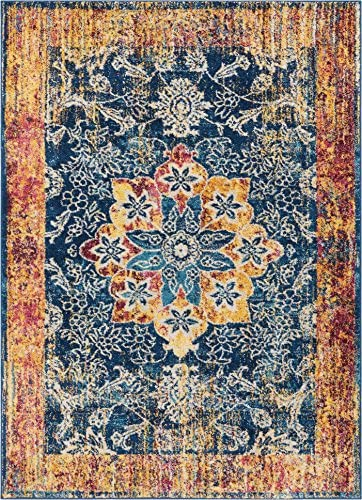 Well Woven Cora Floral Medallion Vintage Blue Area Rug 8×11 7'10″ x 10'6″ Soft Plush Modern Oriental Carpet
