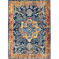 "Well Woven Cora Floral Medallion Vintage Blue Area Rug 3x5 (3'3"" x 4'7"") Soft Plush Modern Oriental Carpet"
