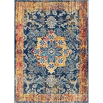 Amazon Com Well Woven Watercolor Ikat Blue Boho Area Rug