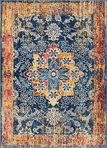 Well Woven Cora Floral Medallion Vintage Blue Area Rug 8x11 (7'10
