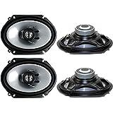 "Kenwood 1 X 4) new kenwood kfc-c6865s 6x8"" 500 watt 2-way car audio coaxial speakers stereo"