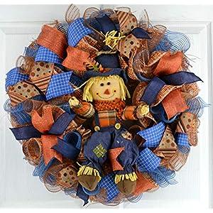 Scarecrow Mesh Front Wreath | Thanksgiving Fall Front Door Wreath | Blue Orange Brown 104