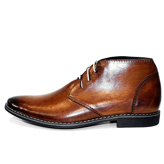 Amazon.com | PeppeShoes Modello Buqe - Handmade Italian Mens Brown Ankle Chukka Boots - Cowhide Hand Painted Leather - Lace-Up | Chukka