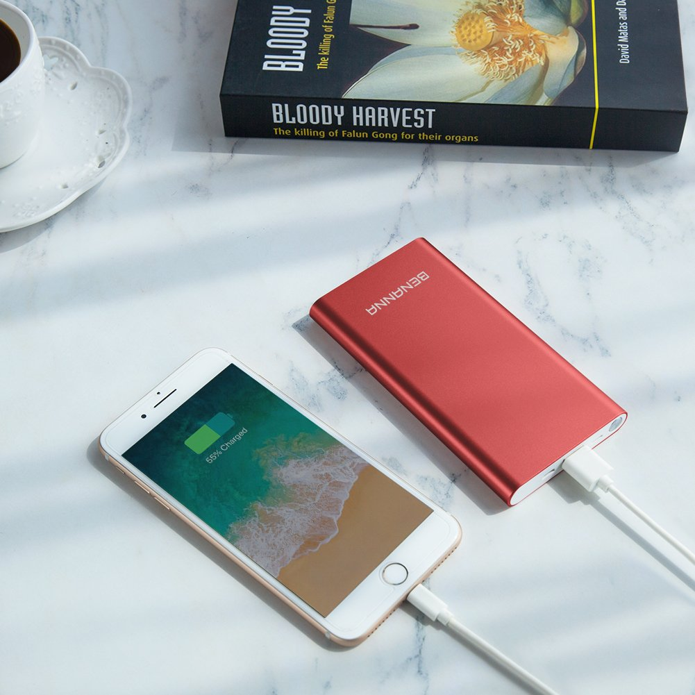 Portable Charger 10000mAh Cell Phone Power Bank Portable Battery Pack External Backup BENANNA Dual Input Compatible with iPhone X XS Max XR 8 7 6 Plus Se Android Galaxy Note iPad LG Red