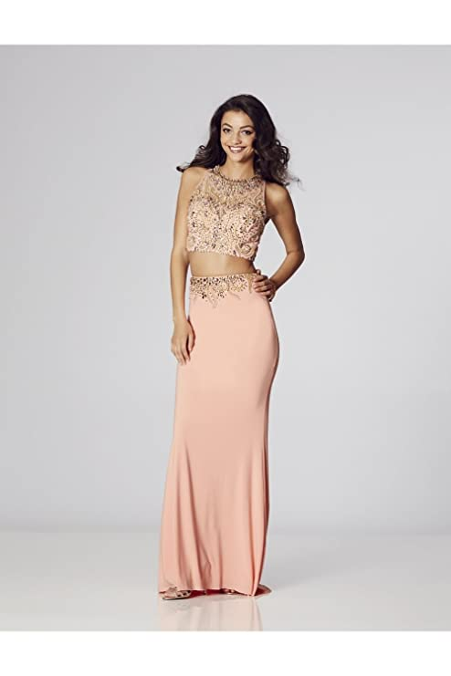Tiffanys Illusion Prom Peach Lorena Beaded Two Piece Gown UK 2 (US 00): Amazon.co.uk: Clothing
